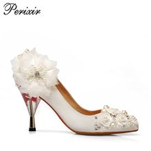 2017 Cheap Dress Shoes pump shoes fashion high heel with white flower and jewel