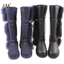 CF-142 Winter Factory Genuine Leather Long Design Australian Double Face Sheepskin And Raroon Fur Over The Knee Boots For Women