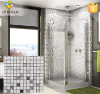 Stainless Steel Mix Electroplate Glass Mosaic Wall Tile For Bathroom
