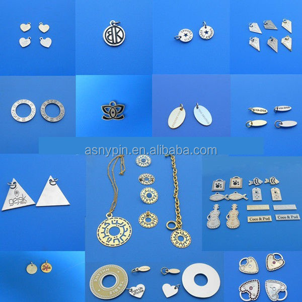 2016 new various custom design metal tags/ metal logo/pendants/charms/jewelry tag