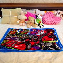 Modern design flat bed pattern printed coral fleece kids blanket with super man and car