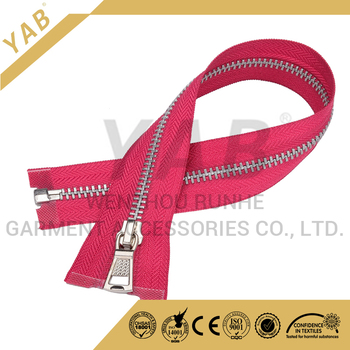 High Quality YAB 5# White Gold Y Brass Teeth Open End Pink Tape Metal Zipper With Auto Zinc Alloy Slider