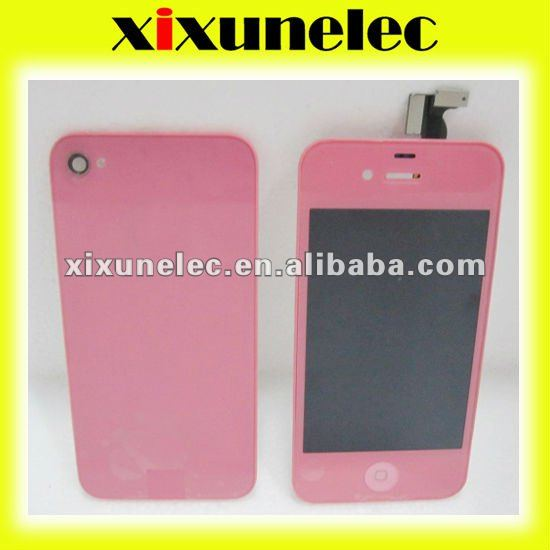 For iphone4s LCD+touch screen+button+back cover pink