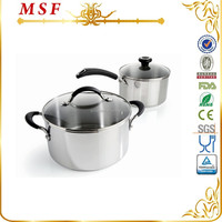 Necessary Kitchen Parts For Family 4pcs Stainless Steel Sauce Pot With Bakelite and SS Handles & Knob MSF-L3265