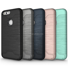 Luxury brushed metal pc tpu hybrid combo armor shockproof case for google pixel