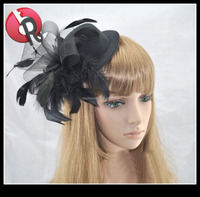 lady hard handmade fascinator mini bowler hat with feather