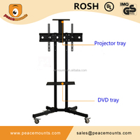DVD Tray Free Standing Rotating TV Trolley Stand With Four Swivel Casters