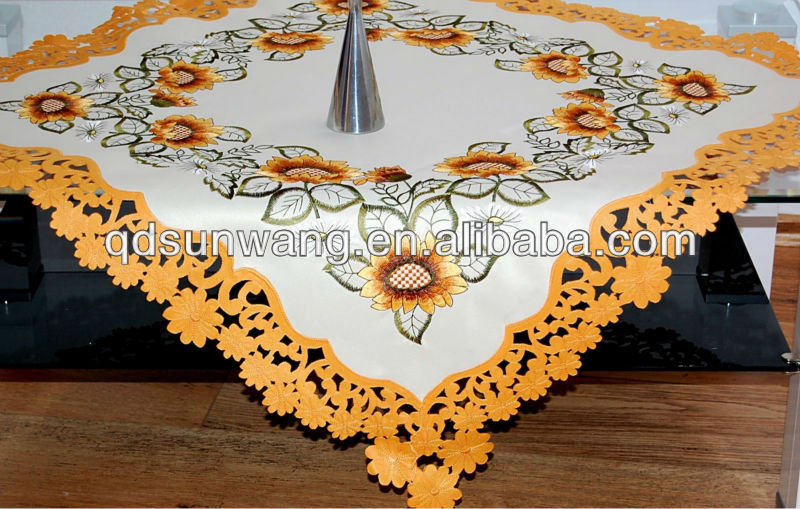 sunflower embroidered tablecloths