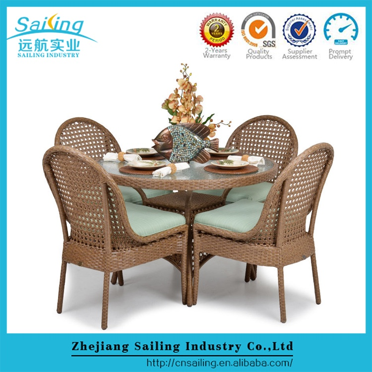 Outdoor Rattan Round Glass Top Dining Table And 4 Chair Sets