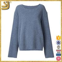OEM factory price light blue plain sweater, round neck women sweaters knitting models