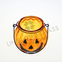Hallowmas glass candle holder with hanger pumpkin decorative
