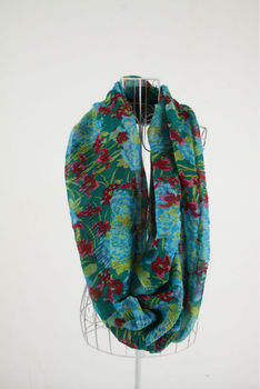 XH-1201 100% Polyester floral printed fashion infinity scarf