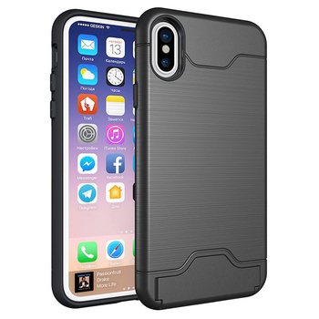 IPhon8 TPU PC shockproof credit card holder phone case for iphone X wallet card slot case