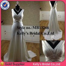 china wholesale bridal rhinestone appliques sexy deep-v neckline beading on waist thai silk evening dress