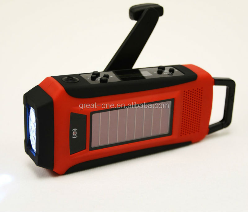 Solar hand crank LCD Emergency Survival digital radio AM/FM/WB NOAA alert + Flashlight+Cellphone Charger 1000amh, USB 5V output