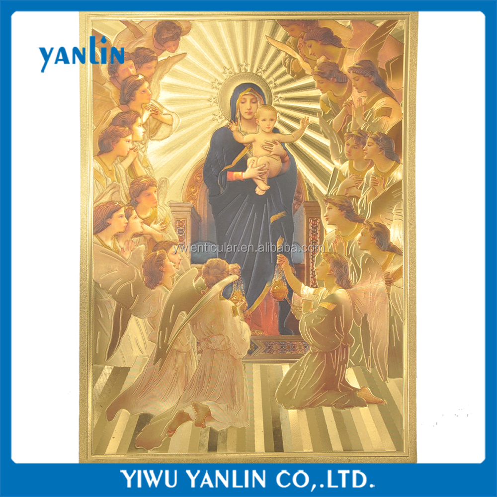 24K Gold foil plated picture godness photo Virgin Mary and Angel