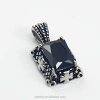 Daimily made Wholesale 316 L Stainless Steel gothic rectangle with cross Boy Pendants