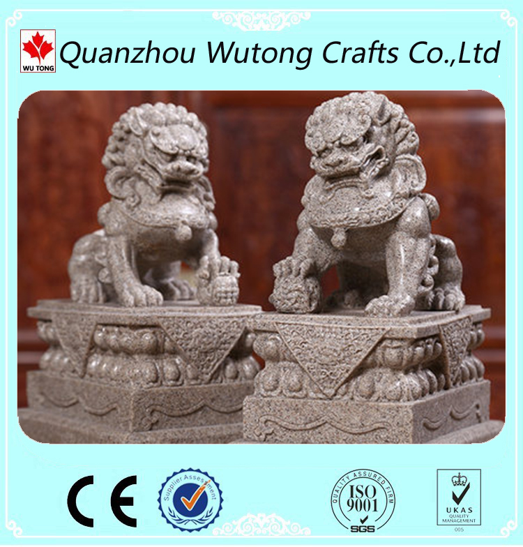 Chinese Stone Style Resin Lion Statue Home Decor