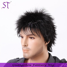 European and american 2016 trendy mohawk hair style synthetic short wig for men black