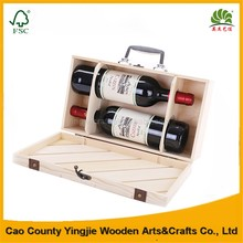 Whosale Cheap Handmade Wood Wine 2 Bottle With Wood Wine Box,Unfinished wooden wine crate