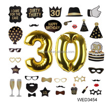 30 Gold Number Balloons And 30th Birthday Photo Booth Prop Years Old Birthday Decoration Kit