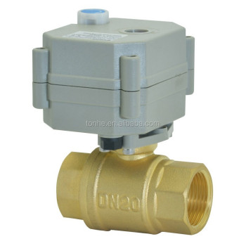2 way DN20  3/4'' motorized brass ball valve with manual override