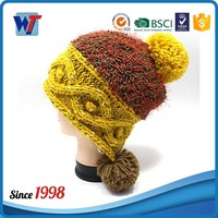 2016 new design Knit pattern ear flaps knitting hat with pom pom