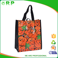 OEM eco friendly logo printed foldable pp woven halloween gift bag