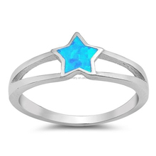 Beautiful White Opal Star Shaped 925 Sterling Silver Rings for Women