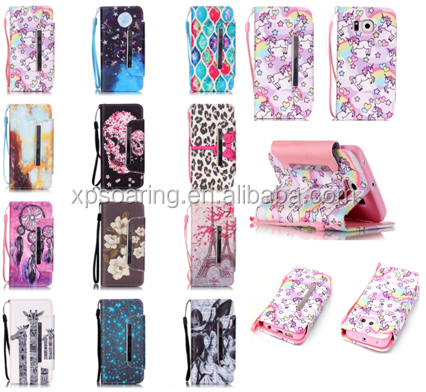 For Samsung galaxy S4 Magnet Flip leather case with rope