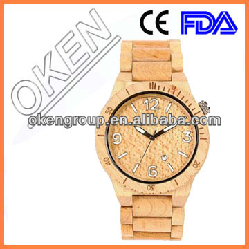 2016 lady wooden watch ,bamboo case leather strap watch for lady , fashion wood watch put on your own logo brand