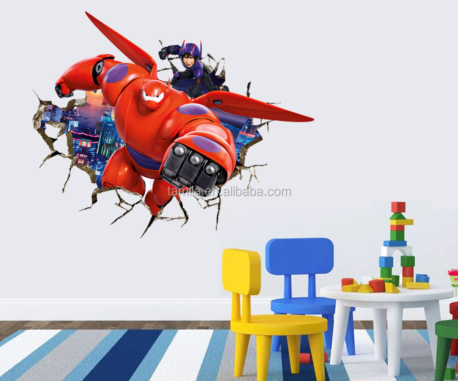 Removeable cartoon wall sticker 3D baby room wall decal Baymax room decor