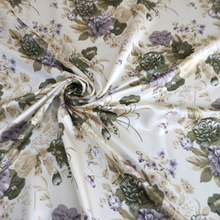 Beige Floral Upholstery Curtain Flower Print Satin Fabric