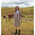 Autumn new style woman's vintage long coat plaid trench coat
