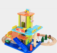 Wooden toy Parking Garage with Train Track Set kids educational toy