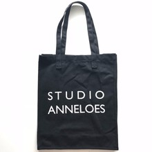 Reusable existing 340gsm black cotton canvas shoppingtote bag for promotion