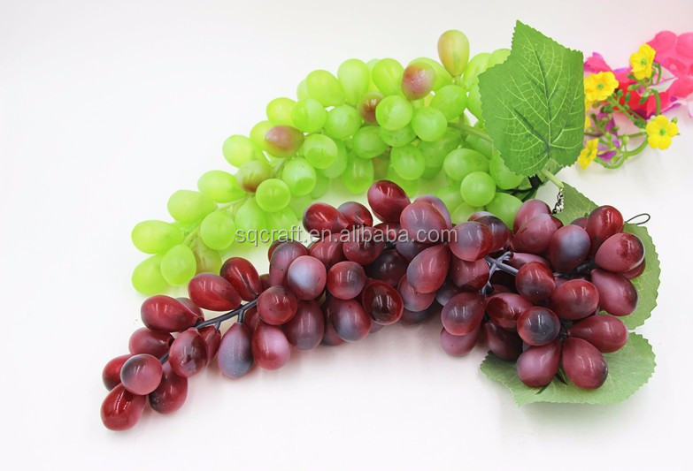 OEM Decorative Faux Plastic Grape Bunches Lot Artificial Fake Fruit Green Grapes Grapevine Bunch- Yiwu Sanqi Crafts Factory