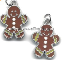 Jewelry Charm Silvertone Enamel Gingerbread Boy Christmas Pendant Charms