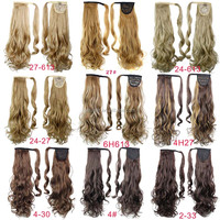 Factory direct sell curly wave synthetic hair extension ,15 colors wrap around ponytail ,clip in ponytail hair extension
