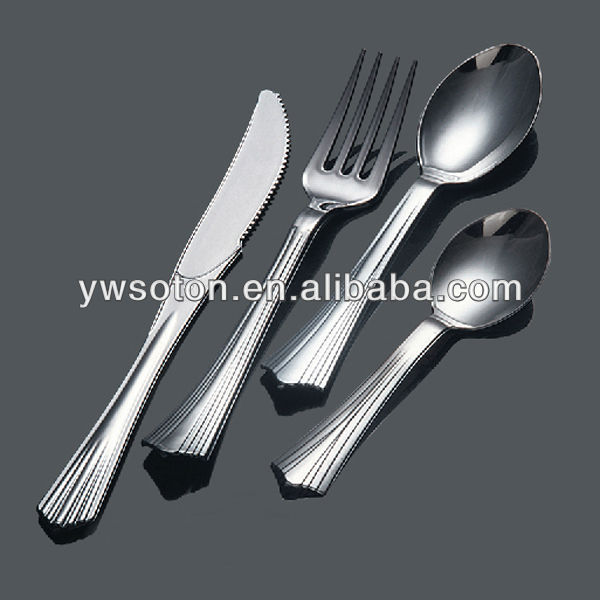 silver coated plastic cutlery(fishtail handle) disposable plastic cutlery