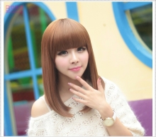 Real Female Hair Wigs Straight Short Hair Korean Pear Small Head Wig