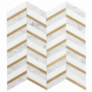 Soulscrafts Thassos White Mixed Bianco Carrara Marble and Brass Waterjet Mosaic Wall Tiles