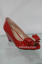 Fire red ladies shoes with butterfly dec-knot