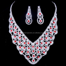 New arrival high quality engagement ladies' red necklace earrings indian accessories wholesale