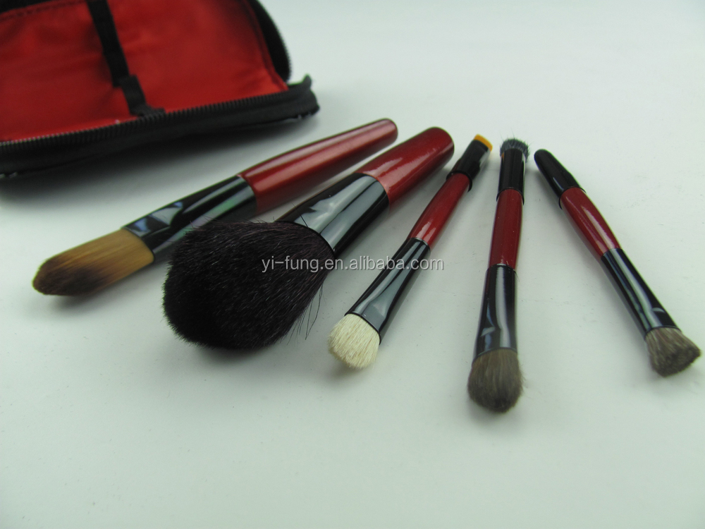 5 Pcs Brushes Make up Black PU bag With Zipper Closure Brush Make up Travelling Make up Foundation