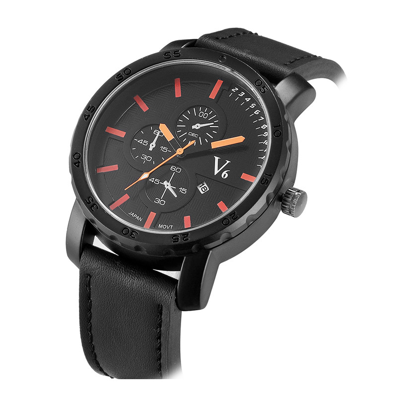 B <strong>007</strong> <strong>A</strong> men's brown croco leather strap chronograph watch leather watch new fashion bracelet leather watches