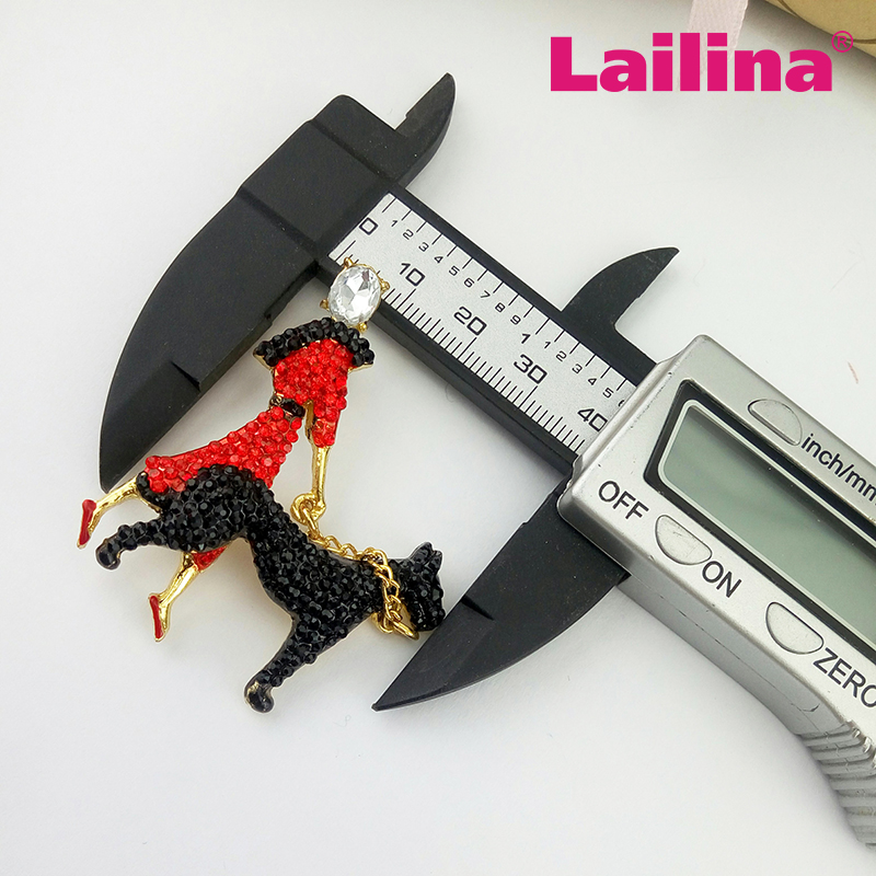 Custome 50mm Collar scottie dog and red with black crystal rhinestone lady dog brooch
