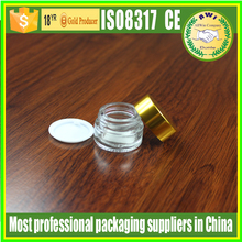 3ml 5g glass cosmetic jar with gold lids clear concetrate container 5g 10g for makeup use