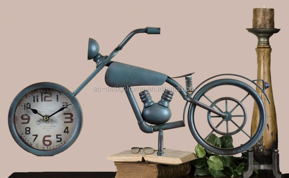 ANTIQUE TURQUOISE METAL MOTORCYCLES SHAPE TABLE TOP CLOCK