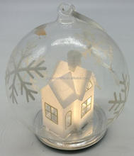 glass Snowflake Christmas ornaments LED glass ball with houses inside